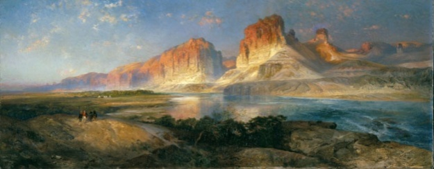 """Nearing Camp on the Upper Colorado River"" Oil Painting by Thomas Moran Copyright Bolton Museum and Library Services."