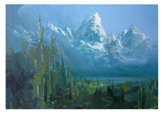 The Tetons, Oil Painting, 15x21cm, the first of many.