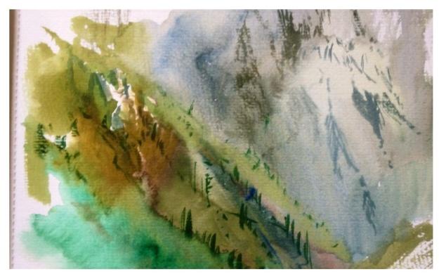 Teton Study, Water colour. 29x21cm