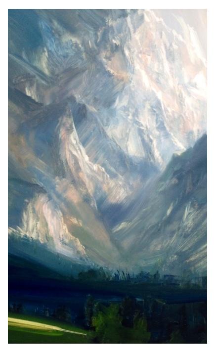 Teton work in Progress, 40x60cm