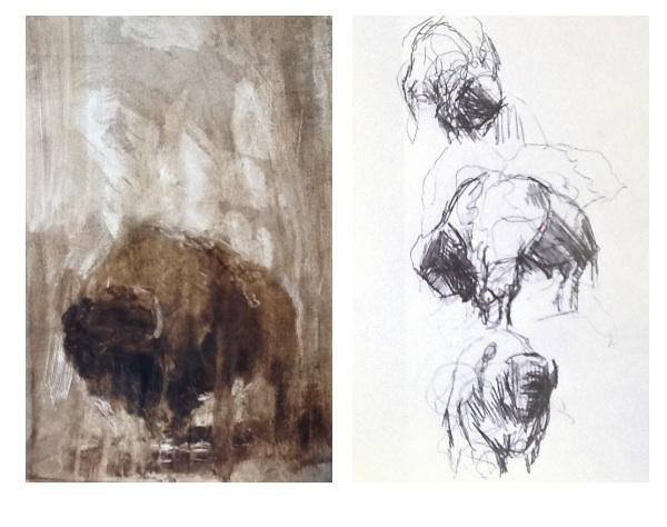 Sketchpads images, Oil painting on varnish paper and a Biro form study.