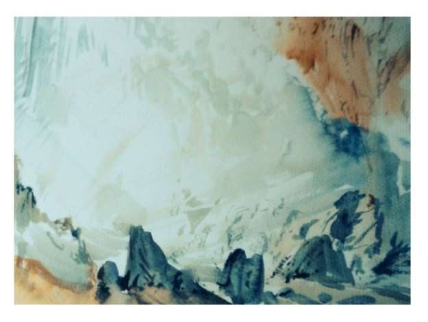 Water and rock sketch, watercolour, 35x28cm