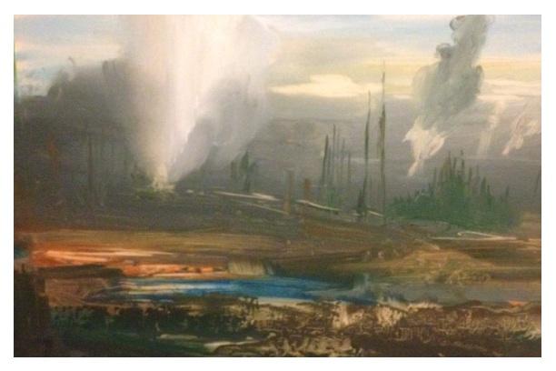 'Geysers' Oil Study 20x15cm