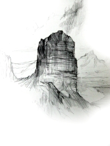 Tollgate Rock Sketch, pencil