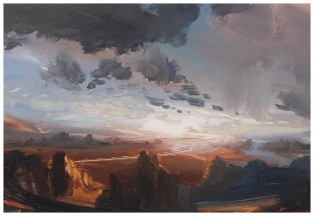 Green River Valley Evening. 20x15cm. Oil.